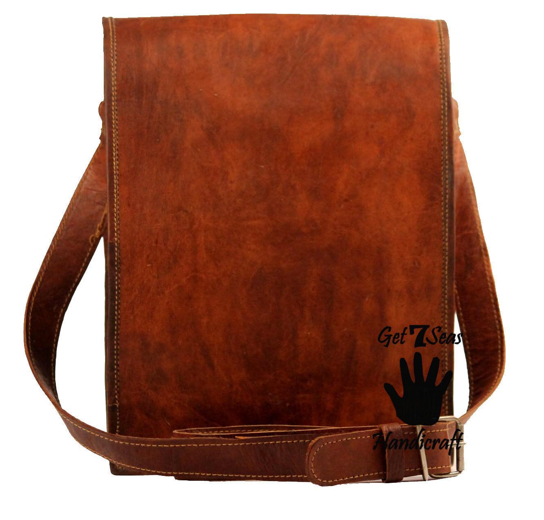 16 Men Vintage Brown Leather satchel Messenger Bag Shoulder Laptop Bag Briefcase image 6