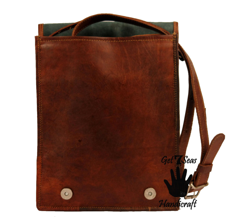 16 Men Vintage Brown Leather satchel Messenger Bag Shoulder Laptop Bag Briefcase image 7