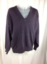 Eddie Bauer Lambswool Wool Blend V-Neck Long Sleeve Sweater Mens M Purple Brown - $17.56