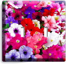 Mixed Petunia Flowers Colorful Garden Double Light Switch Wall Plate Cover Decor - $10.79