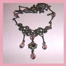 Black Marcasite Purple and Pink Rhinestone Sterling Silver Necklace - $24.99