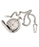 Reproduction art deco style mechanical pocket watch with machined face a... - $146.02