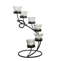 Adeco Accent Candle Holder With Clear Glass, Holds 6 Tealight Candles - $29.99