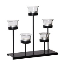 Adeco Metal Stand With Glass Candle Holder, Holds 5 Candles tealights - $29.99