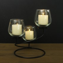 Adeco Metal Candle Holder With Clear Glass, Holds 3 Pillar Candles - $29.99