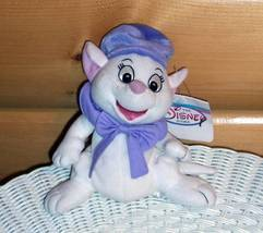 """Disney The Rescuers Plush Beans 8"""" White Mouse Bianca in Lavender Hat & ... - $6.19"""