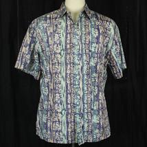 Cooke Street Blue Floral Camp Aloha Hawaiian Shirt Men Size Large L EUC - $23.38