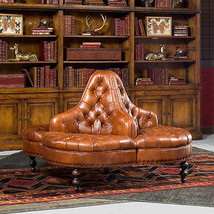 Elegant Library Lobby Tufted Brown Italian Leather Round Sofa 57'' x 39''H. - $3,995.00
