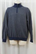 Tasso Elba Mens Sweater Sz L Night Heather Blue Cotton Henley Pullover S... - ₨2,383.78 INR