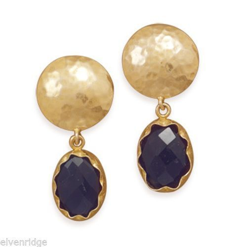 14 Karat Gold Plated Amethyst Clip-On Earrings Sterling Silver