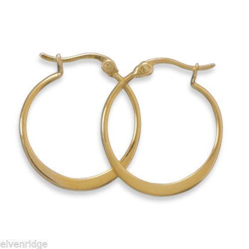 14 Karat Gold Plated Hoops Sterling Silver