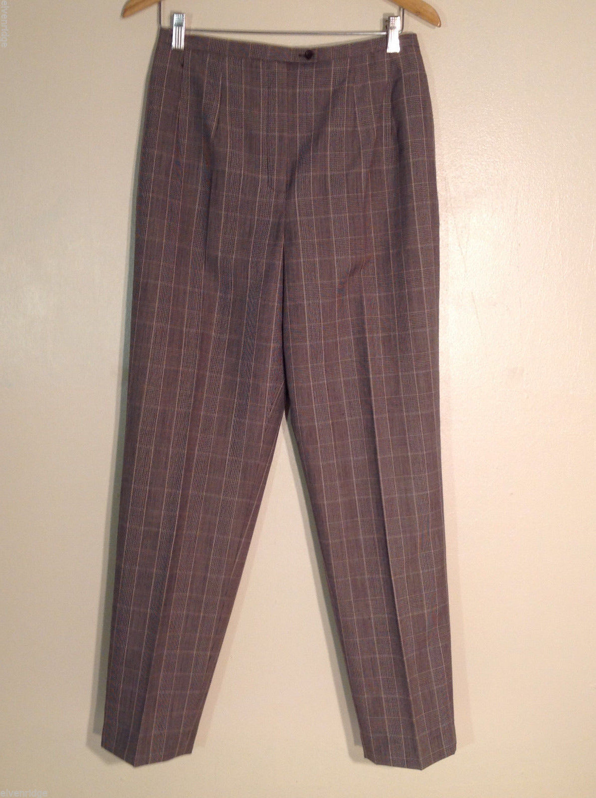 Andrea Viccaro Women's Size 10 Dress Pants Brown & Black Patterned Check Print