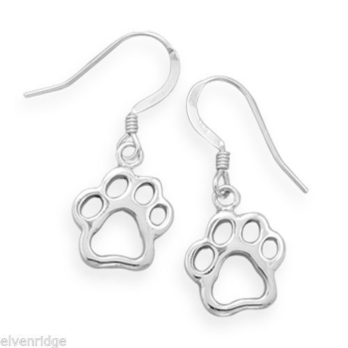 Cut Out Paw Print Earrings Sterling Silver