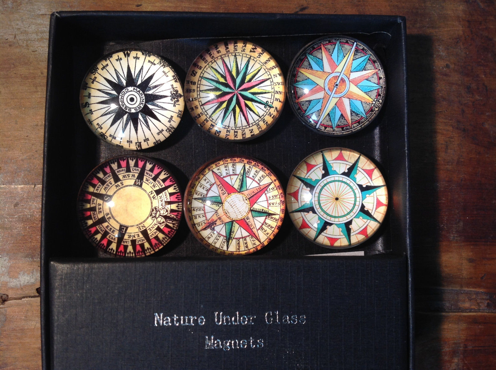 Circular Glass Compass Magnets Set of 6 Each One is Different