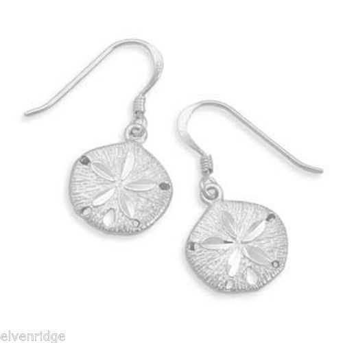Diamond Cut Sand Dollar French Wire Earrings Sterling Silver