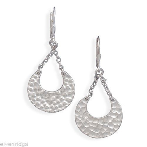 Chain Drop Hammered Earrings Sterling Silver