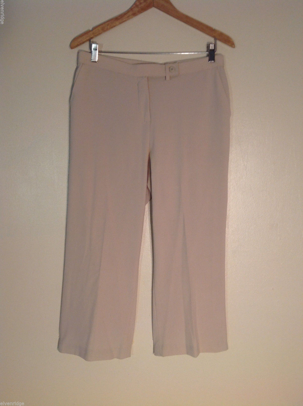 Coldwater Creek Women's Size 10 Cropped Pants Beige Flat Front Creased Legs