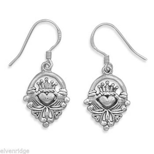 Claddagh Earrings on French Wire Sterling Silver