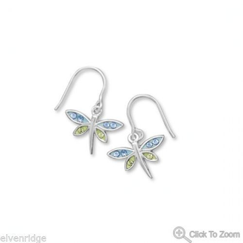 Crystal Dragonfly Earrings Sterling Silver