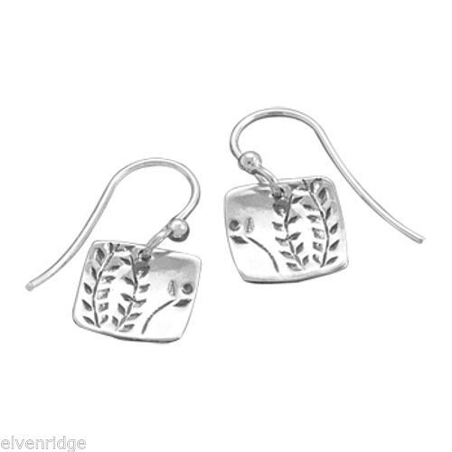 French Wire Earrings with Fern Design Sterling Silver