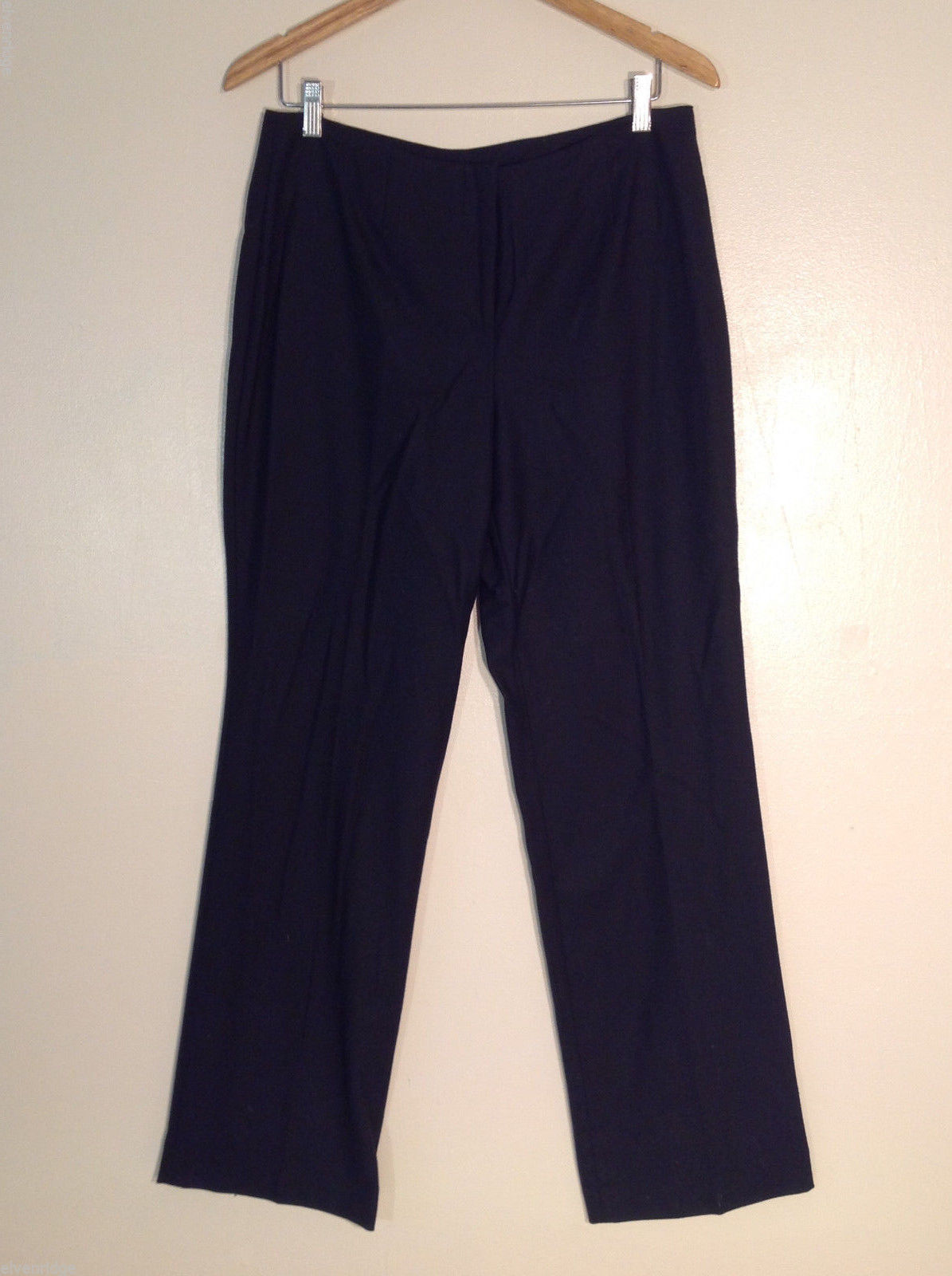 Lands' End Women's Tall Size 10 Dress Pants Black Wool Straight Leg No Waistband