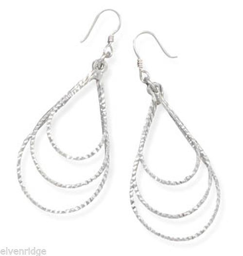 Graduated Diamond Cut Open Pear Drop Earrings Sterling Silver