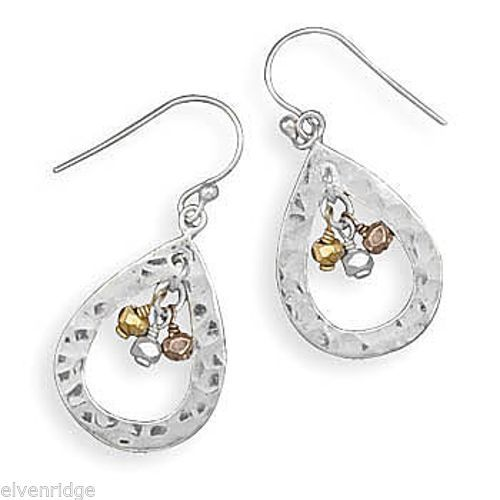 Hammered French Wire Earrings with Tri Tone Bead Drop Sterling Silver
