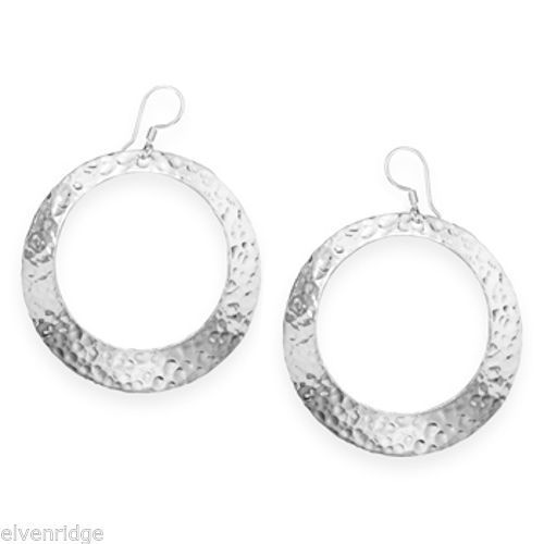 Hammered Open Circle Earrings Sterling Silver