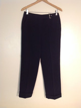 "Larry Levine Women's Petite Size 10 Dress Pants Black Stretchy Crepe w/ ""Belt"""
