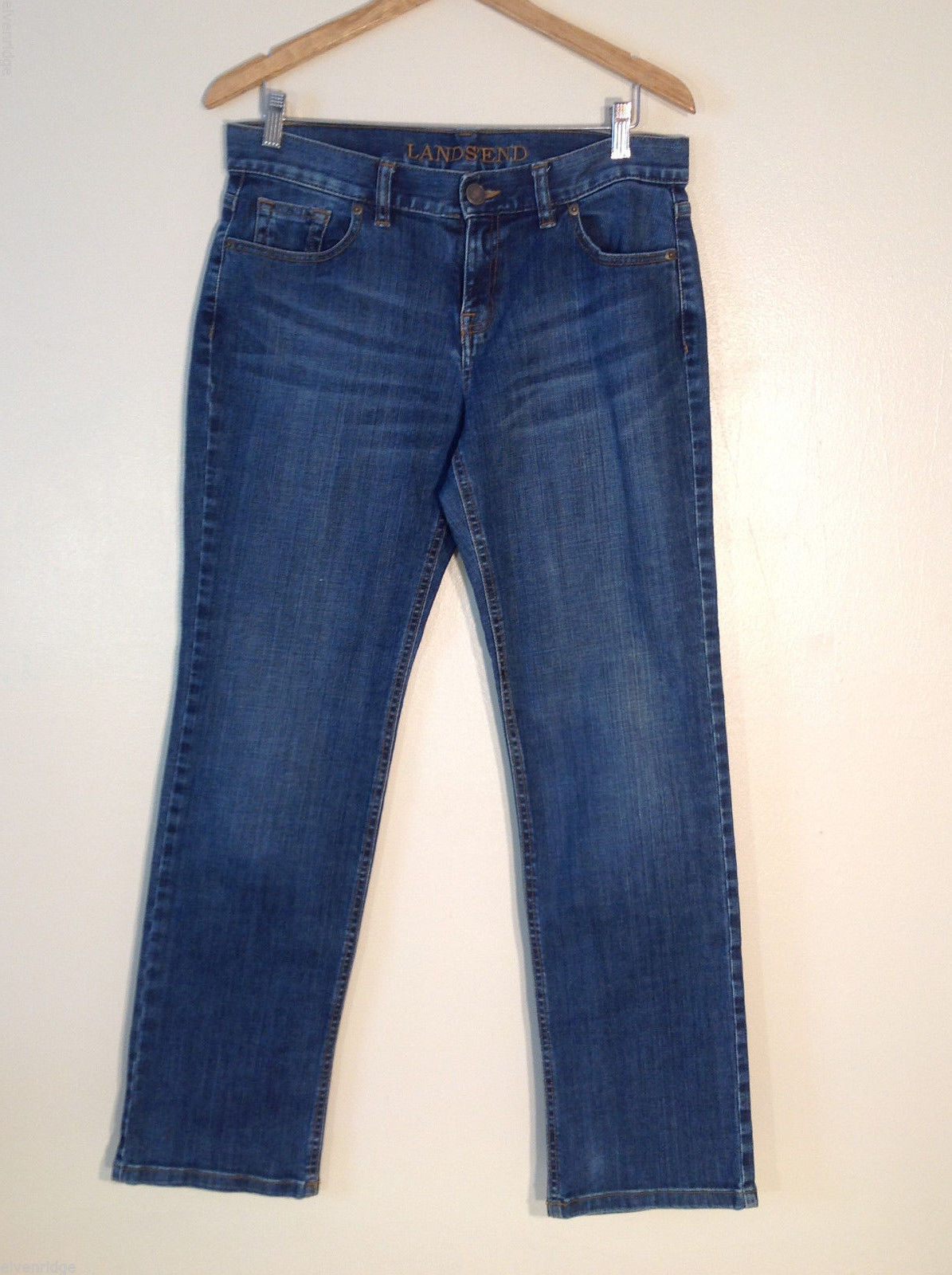 Lands' End Women's Tall Size 8 Denim Jeans Medium Blue Wash Straight Vintage