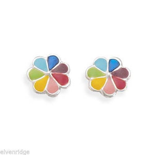 Multicolor Enamel Flower Post Earrings Sterling Silver