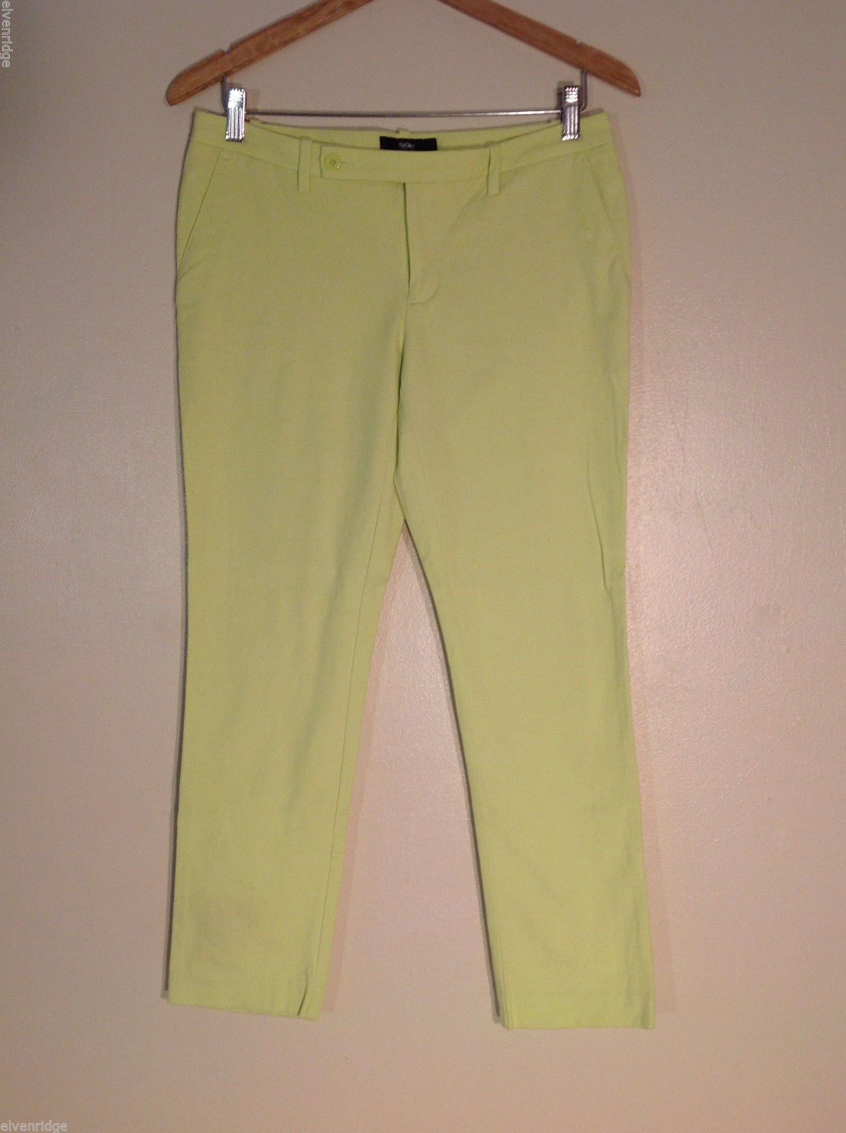 Mossimo Women's Size 6 Casual Pants Electric Green Low Rise Cropped Straight Leg