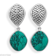 Oxidized Synthetic Turquoise Clip-On Earrings Sterling Silver