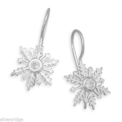 Polished CZ Snowflake Earrings on French Wire Sterling Silver