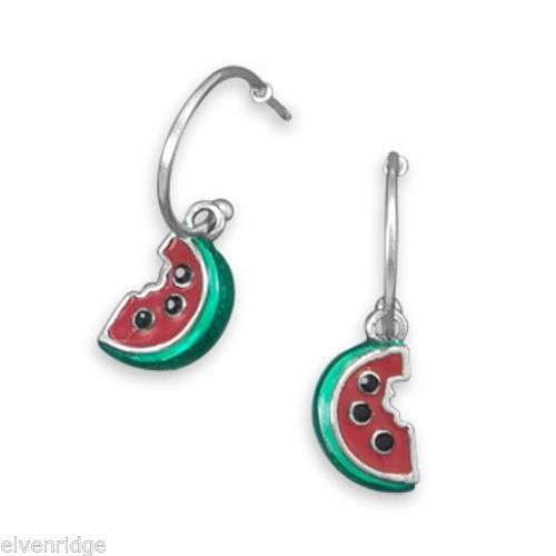 Rhodium Plated 1/2 Hoop Earrings with Watermelon Charm Sterling Silver