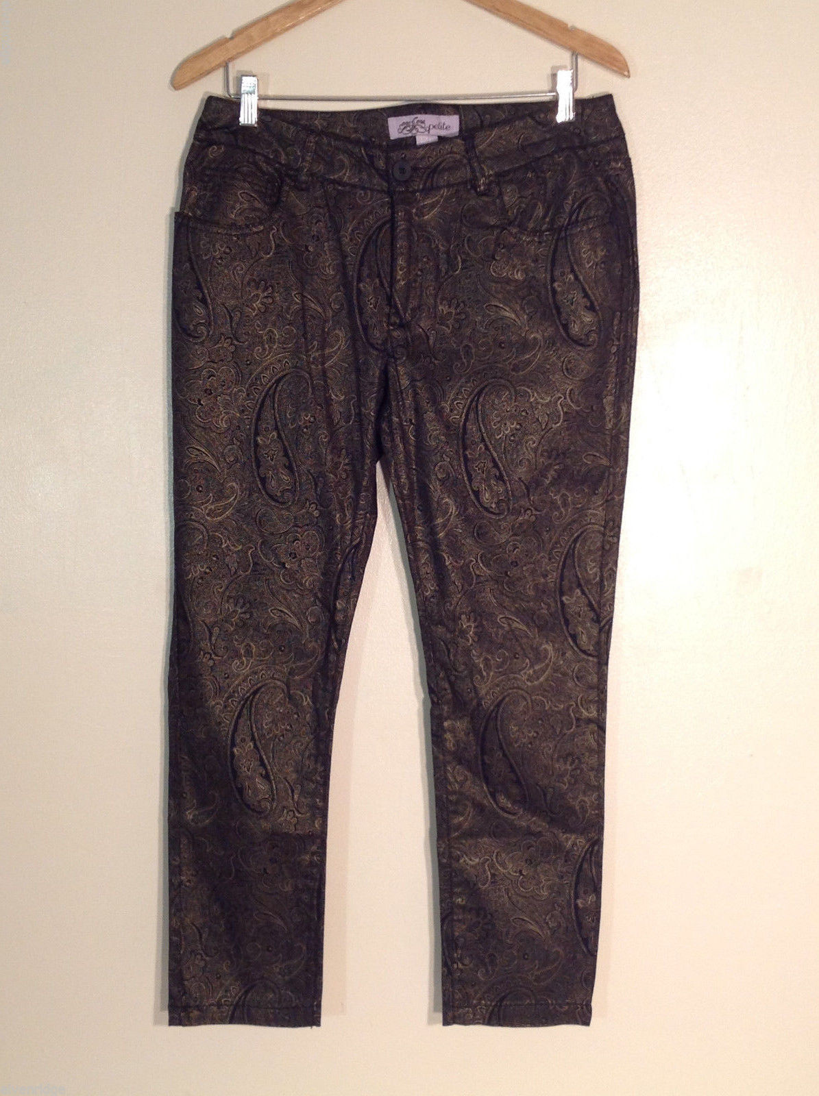 One 5 One Women's Size 12 Petite 12P Pants Black & Gold Jacquard-Look Paisley