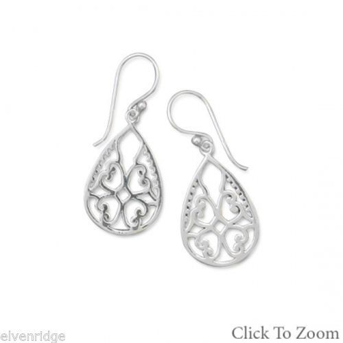 Ornate Cut Out Design Earrings Sterling Silver