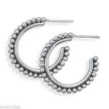 Oxidized Bead 3/4 Hoops Sterling Silver