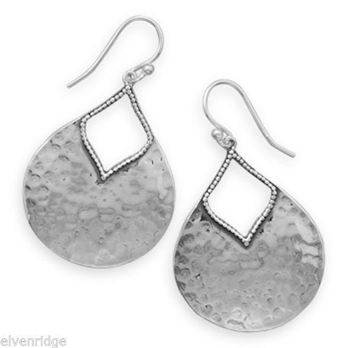 Oxidized Hammered Pear Shape Earrings Sterling Silver