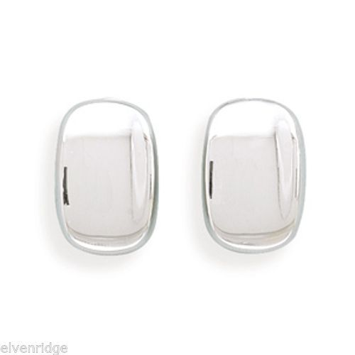 Rectangular Concave Clip-On Earrings Sterling Silver