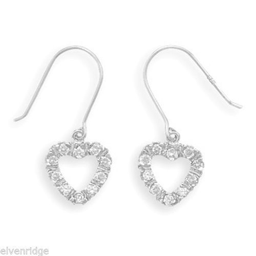 Rhodium Plated Cut Out Heart CZ French Wire Earrings Sterling Silver