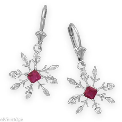 Rhodium Plated Snowflake Earrings with Clear and Red CZ Sterling Silver