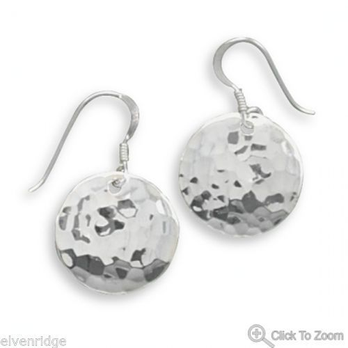 Round Hammered French Wire Earrings Sterling Silver