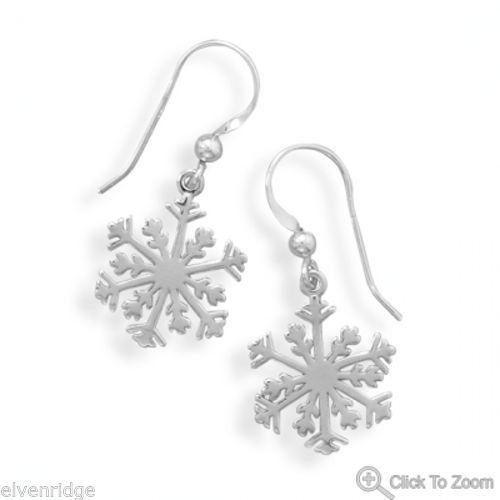 Small Snowflake Earrings Sterling Silver