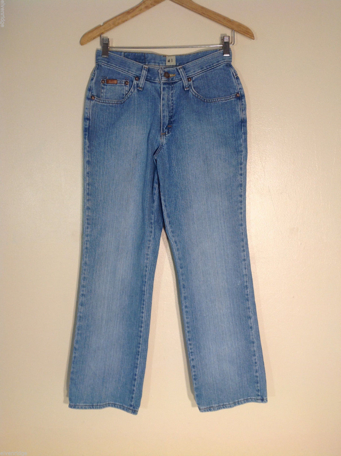 "Riders Women's Petite Size 8 Denim Jeans Light Blue Wash 10"" High Rise Boot Cut"