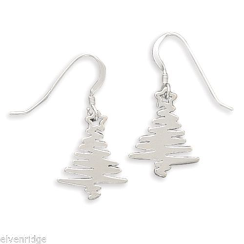 Zig Zag ChristmasTree Earrings Sterling Silver