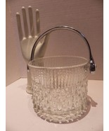 Vintage Mid Century Modern Danish Style Glass Ice Bucket Elegant Raindro... - $23.22