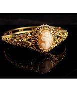 Florenza Bracelet  - Vintage baroque Cameo bracelet - hinged filigree ba... - $125.00