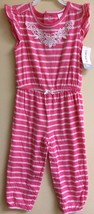 NWT Carter's Baby Girl 18M Pink & White Striped Flutter Sleeve Jumpsuit - $12.64