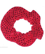 Red Sequin Dots Hair Scrunchie Scrunchies by Sherry Confetti Dot Fabric - $6.99